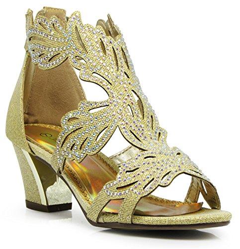 Enzo Romeo Lime03N Womens Open Toe Mid Heel Wedding Rhinestone Gladiator Sandal Wedge Shoes (6, Gold)