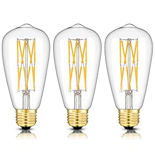 OMAYKEY 12W Dimmable LED Edison Bulb (120W Equivalent) 3000K Soft White 1200 Lumens, E26 Base Vintage ST64 Edison Clear Glass Light Bulbs, Unique Double Layer Spiral LED Filaments Version, 3 Pack