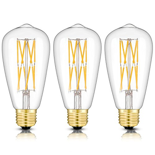 OMAYKEY 12W Dimmable LED Edison Bulb 120W Equivalent 3000K Soft White 1200 Lumens, E26 Medium Base ST64 Vintage Edison Light Bulbs, Unique Double Layer Spiral LED Filaments, 3 Pack