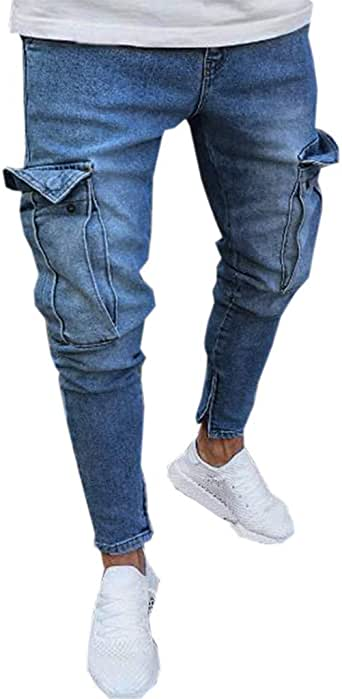 F/_Gotal Mens Ripped Skinny Distressed Destroyed Straight Fit Zipper Jeans with Holes Sports Running Jogger Pants Trouser