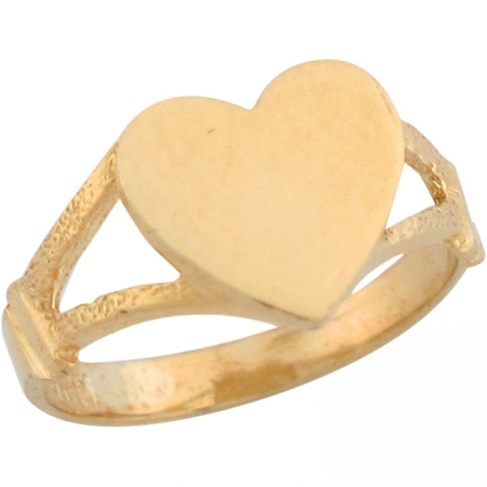 14k Yellow Gold Big Heart Signet Baby Ring