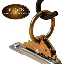 TEN Steel E-Track O Ring Tie-Down Anchors for Cargo Loads in Enclosed/Flatbed Trailer, Truck (ETrack Rails Not Included)