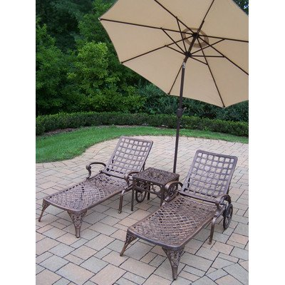 Oakland Living Elite Cast Aluminum 2 Chaise Lounges with 18-Feet Side Table and 9-Feet Tilt Beige Umbrella and Stand