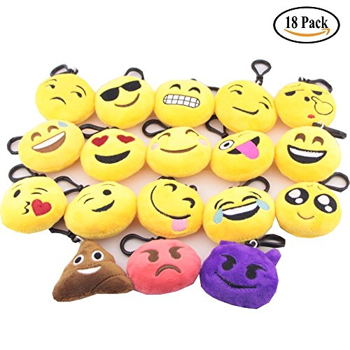 TEKFT Emoji Mini Plush Pillows, Keychain Decorations, Kids