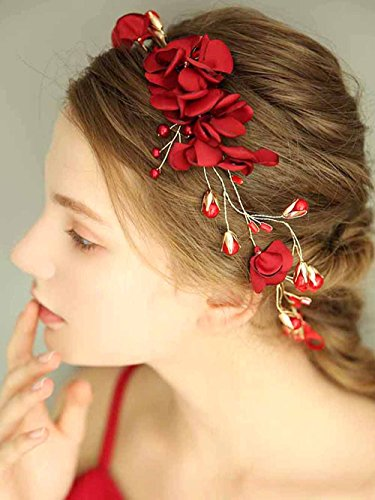 Aegenacess Wedding Headband Artificial Flower Wreath and Tiara for Brides and Bridesmaids - Bridal Hair Vine Crystal Prom Baby Shower Accessories for Women and Girls with Ribbon (Red Flower) -