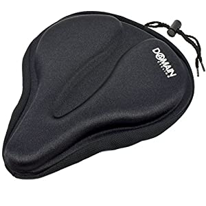 "Domain Cycling Large Bicycle Gel Seat Cover 11.5""x9.5"" Wide Thick Cushion for Exercise Bikes"