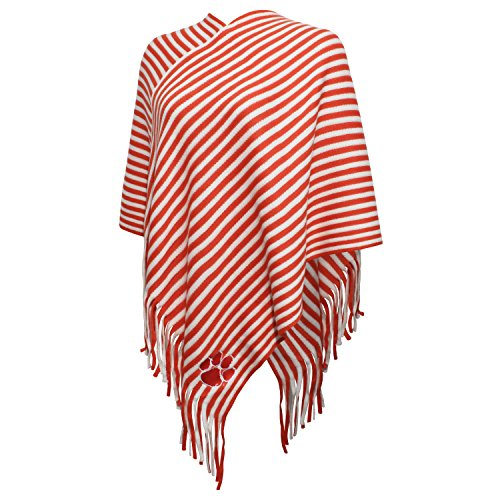 NCAA Clemson Tigers FeWomen's Campus Specialties Striped Team Poncho, V Orange/White, One Size