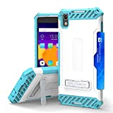 Alcatel One Touch Idol 4, Nitro 49 Case, Trishield Durable Shockproof High Impact Rugged Armor White Blue Phone Cover With Detachable Lanyard Loop And Built in kickstand Card Slot