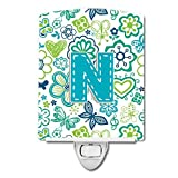 Caroline's Treasures Letter N Flowers and Butterflies Teal Blue Ceramic Night Light, 6x4'', Multicolor
