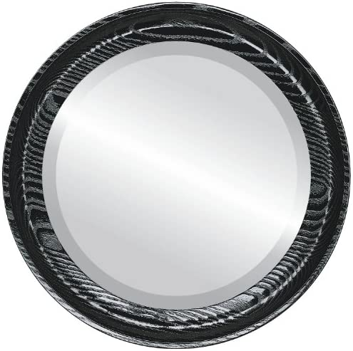 Round Beveled Wall Mirror for Home Decor – Vancouver Style – Gloss Black – 21×21 outside dimensions