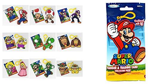 EnterPlay Super Mario Hanger Set with Trading Card Set of 9 Mario,Peach,Luigi