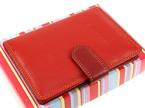 Holder Red Passport amp; Credit RB75 Wallet Visconti Case Multi Cards Blue By Leather Multi Cover A4Igq