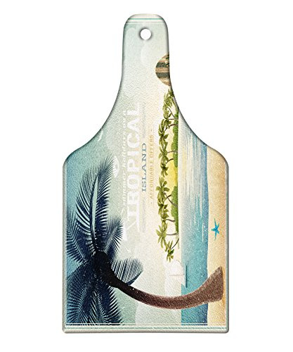 Lunarable Vintage Hawaii Cutting Board, Old School Island on the Horizon Surfing Boards Kite Beach Holiday Theme, Decorative Tempered Glass Cutting and Serving Board, Wine Bottle Shape, Blue Green Tan by Lunarable