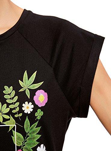 Donna Grezzo Etichetta shirt 2919p Ultra Stampa Con T In Nero Cotone Senza Orlo Oodji 5zFxPTT