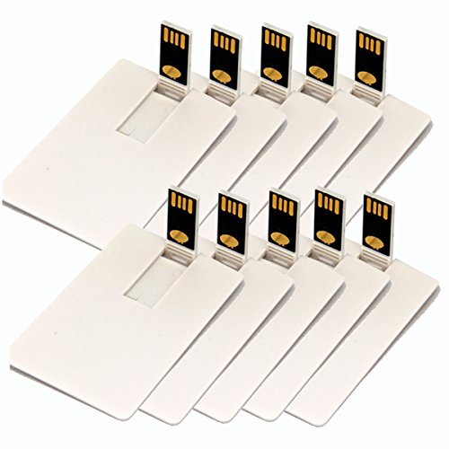 USB Flash Drive 16GB Credit Card Pen Drive 16G Blank White DIY Memory Stick Wholesale Bulk Pack of 10