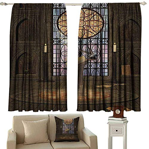 - Double Curtain Rod Gothic House Decor,Lectern on Pentagram Symbol Medieval Architecture Dark Spell Altar,Olive Green Mustard 72