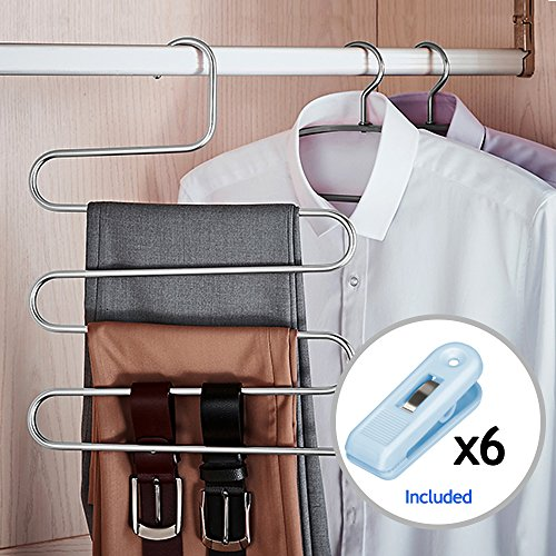 HOMEIDEAS 4 Pack Pants Hangers S-Shape Stainless Steel Clothes Hangers Space Saving Hangers Closet Organizer for Pants Jeans Scarf(5 Layers,4Pcs)
