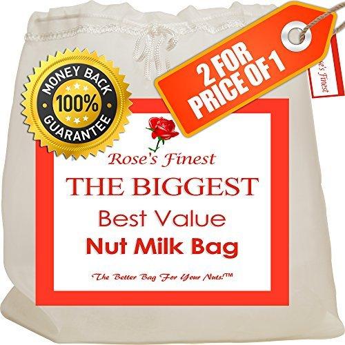 Finest Nut Milk Bag - 2 Pack Large (12