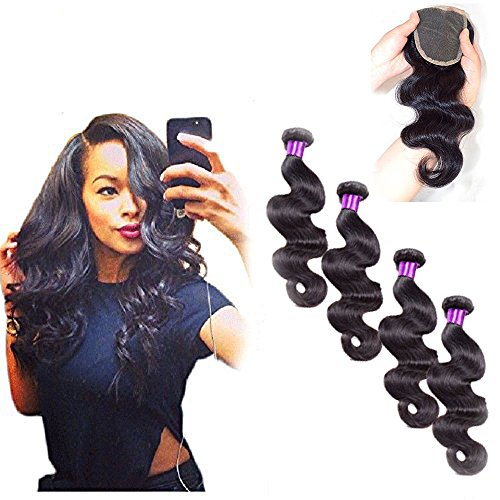 Passion Beauty 4 Bundles 7a Grade Peruvian Virgin Hair Body Wave 100% Unprocessed Virgin Human Hair Weave Extensions Nature Color 95-100g/pc (14''14''16''16''+14'' closure) by Passion