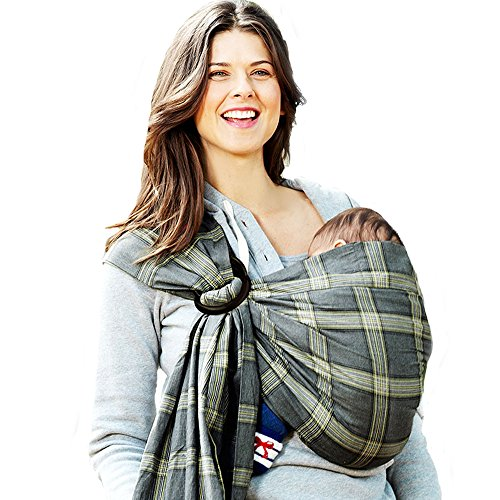 Mamaway Ring Sling Baby Wrap Carrier for Infant, Newborn, Toddler, Nursing Cover, Breastfeeding Privacy, Baby Holder, Breathable Fabric, 100% Cotton-Sherlock