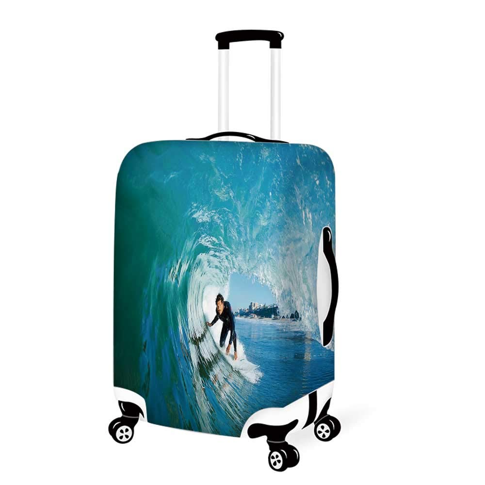 Waterfall Decor Stylish Luggage Cover,Lake Landscape Forest Surrounded by Autumn Leaves on Fall Trees for Luggage,M 19.6W x 28.9H