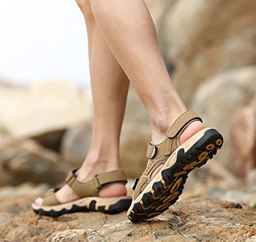 Sandali Pelle Uomini Pantofola Spiaggia Chiaro Tirare Scarpe YiLianDa da Marrone su in nYdzT7Twq