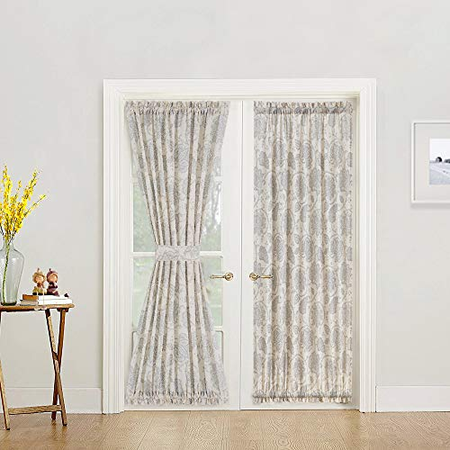 French Door Panel Curtains Paisley Scroll Printed Linen Textured French Door Curtains 72 inches Long French Door Panels, Tieback Included, 1 Panel, Grey]()