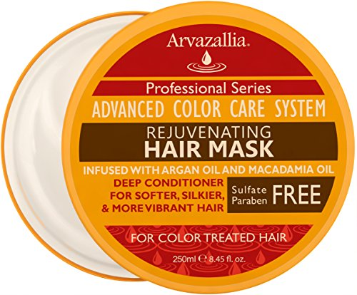 Rejuvenating Hair Mask and Deep Conditioner For Color Treated Hair with Argan Oil and Macadamia Oil By Arvazallia - Sulfate Free & Paraben ()