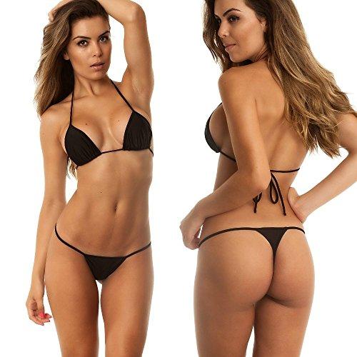 COQUETA Brazilian Teeny Micro Thong Mini Bikini Swimsuit G String (Micro Thong Bikini)