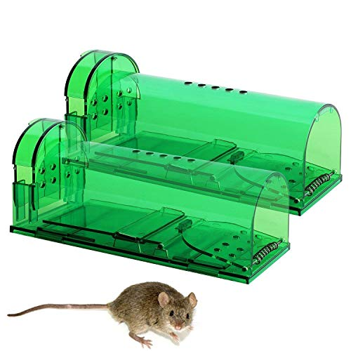 3R Eco-Traps Humane Mouse Traps, Live Catch and Release of Mice or Other Small Rodents - Safe Around Children and Pets - Improved Design with Added Ventilation, Set of 2