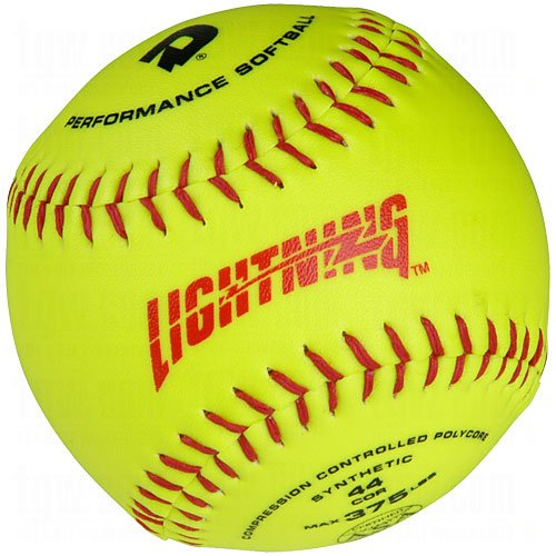 DeMarini Lightning ASA Series Slowpitch Synthetic Leather Softball (12-Pack), 11-Inch, Optic Yellow by DeMarini