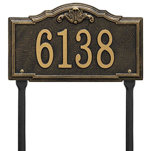 Comfort House Address Sign with Lawn Stakes - Decorative Metal Address Plaque Personalized With Your House Number P2886lawn -