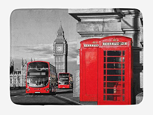 Weeosazg London Bath Mat, London Telephone Booth in The Street Traditional Local Cultural Icon England UK Retro, Plush Bathroom Decor Mat with Non Slip Backing, 31.5 X 19.7 Inches, Red Grey]()