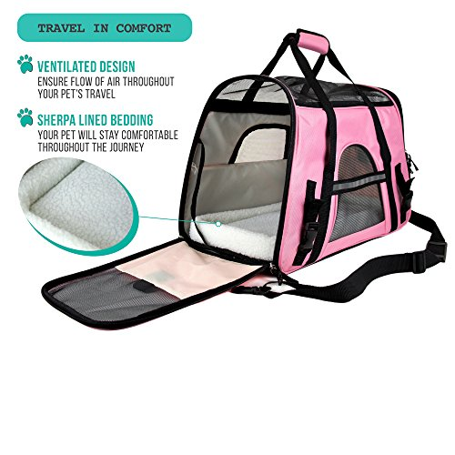 Airline Approved Pink Ventilated Design Ideal for Small to Medium Sized Pet Safety Premium Soft-Sided Pet Travel Carrier by PetAmi