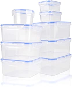 Tauno Soup Containers Plastic with Lids, Food Storage Container Set Reusable, Freezer Microwaveable Mini for Meal Prep 54 Cup /13 Quart Total 9 Pack