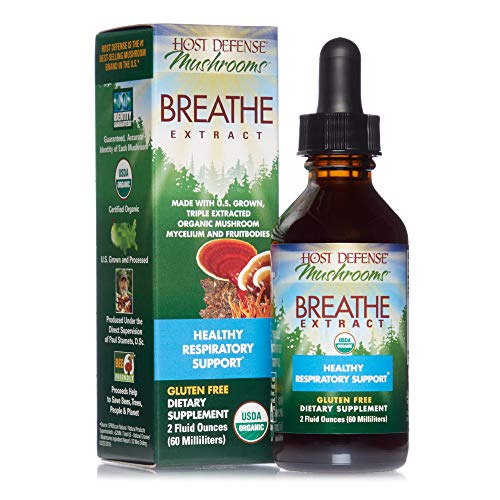 Host Defense, Breathe Extract, Respiratory Support, Mushroom Supplement with Cordyceps, Reishi and Chaga, Vegan, Organic, Gluten Free, 2 oz (60 Servings)
