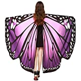 VESNIBA Soft Fabric Butterfly Wings Shawl Fairy Ladies Nymph Pixie Costume Accessory (168X135CM, B-Purple)