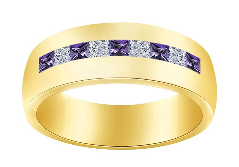 Wishrocks Simulated Birthstone with CZ Mens Wedding Band Ring in 14K Yellow Gold Over Sterling Silver