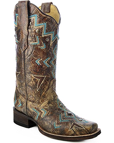 Womens Bronze Cowboy Boots - 6