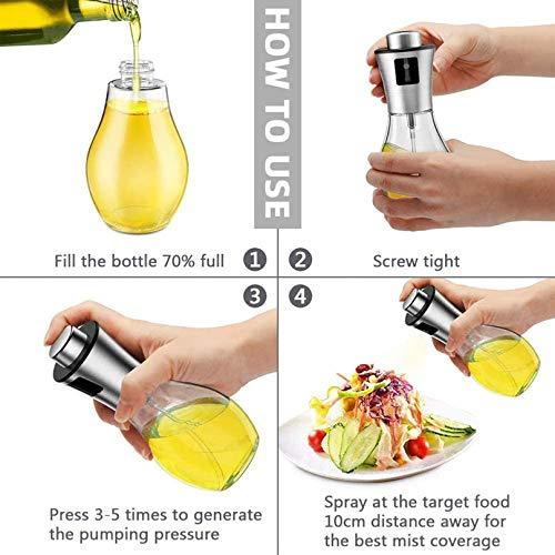 Olive Oil Sprayer for Cooking, 200ml Oil Sprayer Mister Refillable Oil and Vinegar Dispenser Bottle with Basting Brush,Bottle Brush and Oil Funnel for Cooking, Baking, BBQ, Salad, Air Fryer, Roasting