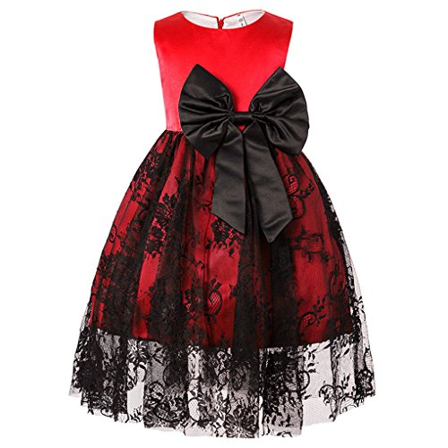 Shiny Toddler Little/Big Girls Round Neck Bowknot Lace Wedding Bridesamid Dress,Red,12-24M