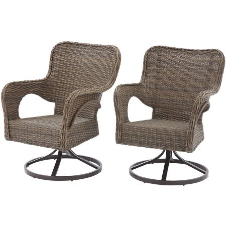 Better Homes and Gardens Camrose Farmhouse Mix and Match Wicker Swivel Chairs, Brown Finish and Weather Resistant Wicker Set of 2 (Wicker Weather Swivel)