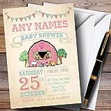 Girls Farm Animals Invitations Baby Shower Invitations