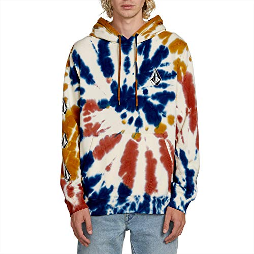 (Volcom Men's Deadly Stone Hooded Pullover Fleece Sweatshirt, tie dye, Small)