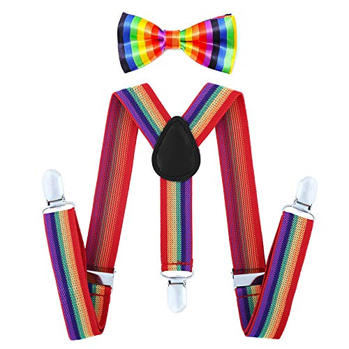 Child Kids Suspenders Bowtie Set - Adjustable Suspender Set for Boys and Girls (Mulit color, 30Inches (6 Years to 5 Feet Tall) -