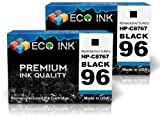 ECO INK © Compatible / Remanufactured for HP 96 C8767WN (2 Black) Ink Cartridges for HP PhotoSmart 2600, 2713, 8150, 8458, 2608, 8030, 8150v, 8750, 2610, 8038, 8150xi, 8750gp, 2610v, 8049, 8157, 8750xi, 2610xi, 8050, 8158, 8753, 2613, 8050v, 8450, 8758, 2
