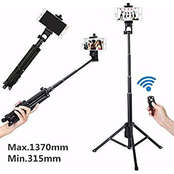 Cleno House 54 Inch Selfie Stick Tripod, Adjustable Self-portrait Monopod, 360 Degree Rotation Phone Clip Mount, Bluetooth Remote for Cellphone and Camera, Such as iPhone 8/8 Plus/X/7/7 Plus/Galaxy