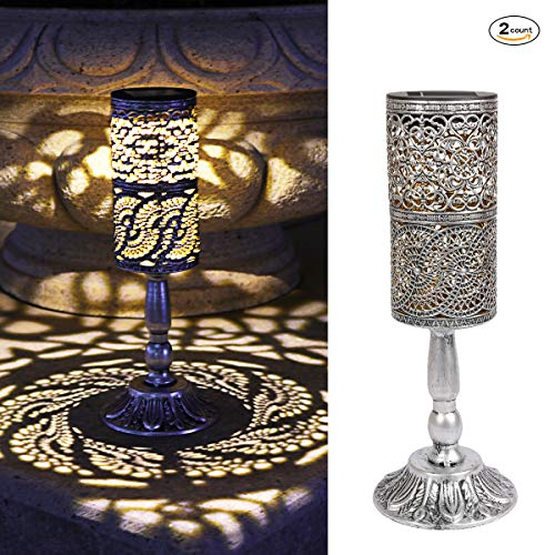 - Ulmisfee 2 Pcs,Solar Lights Retro Candlestick Solar Table lamp for Indoor Outdoor Home Antique Table lamp,Solar Powered Lights Garden Yard Art Decor