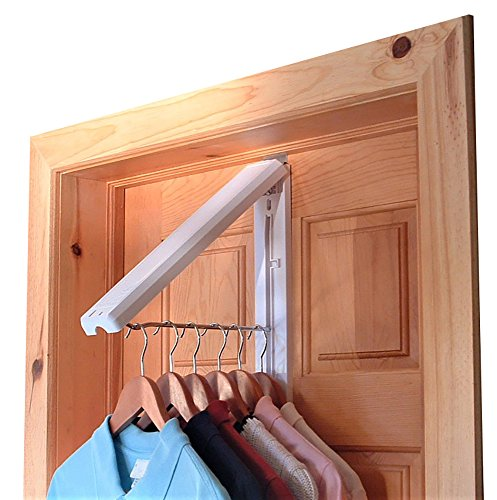 "The Original InstaHANGER Model AH12/MB White – Folding Collapsible Wall Mounted Clothes Storage/Drying Rack - Includes Stainless Steel ""Over Door Bracket"""