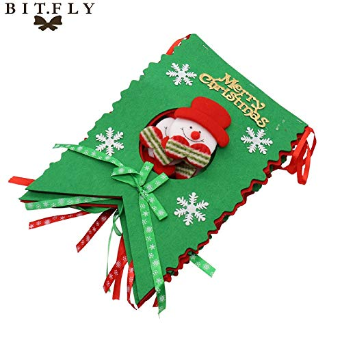 Viet-ST Pendant & Drop Ornaments - DIY Christmas Party Home Decoration Supplies Snowman Santa Claus Snowflake Garland Bunting Banner Hanging Flag red Green 1 PCs ()